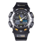 Pasnew PLG-1002A Silicone Sports Quartz Wristwatch - Black + Yellow