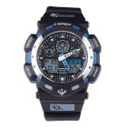 Pasnew PLG-1002A Silicone Sports Quartz Wristwatch - Blue + Black