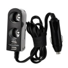 2 USB Ports + 2 Cigarette Lighter Sockets Car Charger - Black