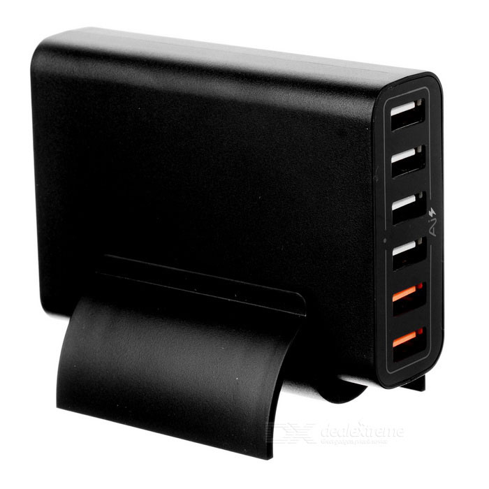 Cwxuan 60W 6-Port USB QC2.0 Smart Quick Charger - Black (EU Plug)