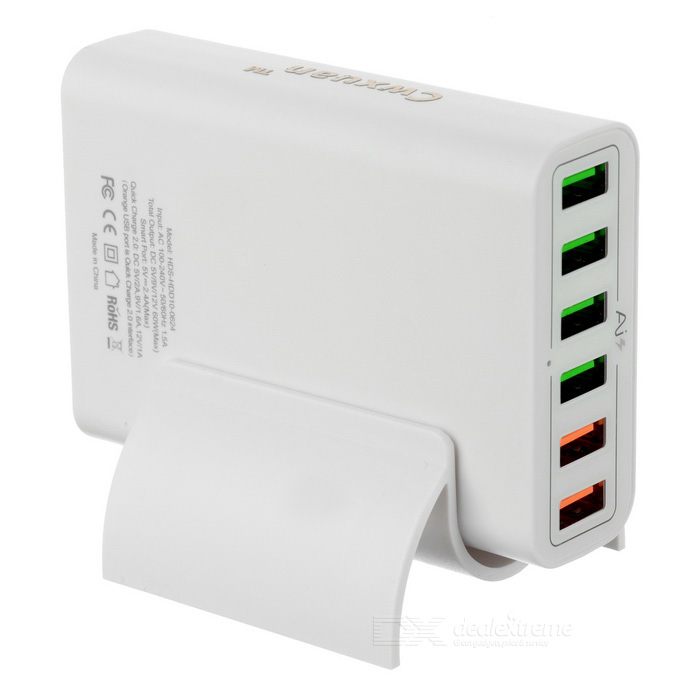 Cwxuan 30W 6-Port QC2.0 Smart USB Carregador rápido - White (EU Plug)