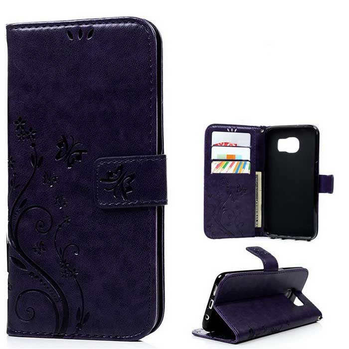 TPU + PU Leather Wallet Case for Samsung Galaxy S7 Edge - Purple