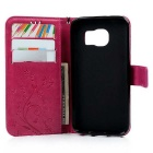 TPU + PU Leather Wallet Case for Samsung Galaxy S7 - Deep Pink