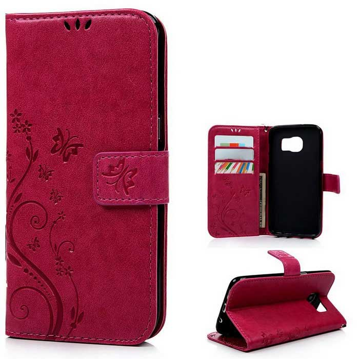 TPU + PU Leather Wallet Case for Samsung Galaxy S7 Edge - Deep Pink