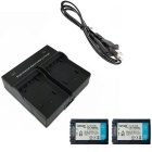 2 PCS Batteries +  Dual Charger for Sony FH 50, 70, 100 / FV 50, 70 ,100, 120 /  FP 50, 60, 90