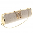 Luxurious Evening Bag Handbag with Shoulder Chain (Silver + Gold)