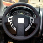 ZIQIAO Genuine Leather Car Steering Wheel Cover - Black + Red