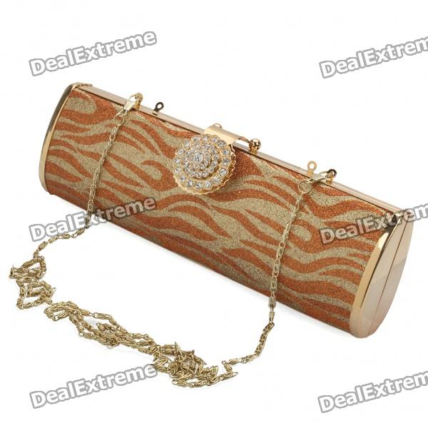 Luxurious Evening Bag Handbag with Shoulder Chain (Red + Gold)
