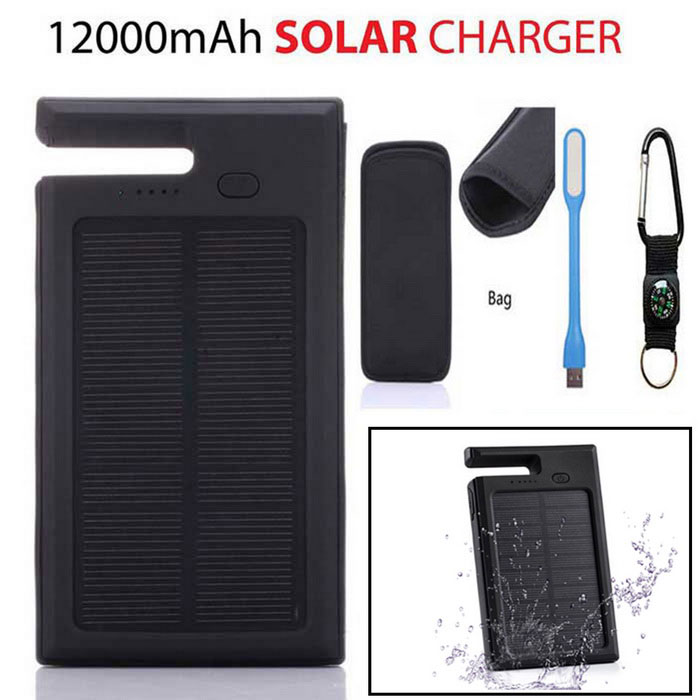 "SUNGZU ""12000mAh"" Solar Power Bank ж / компас, USB Light - черный"