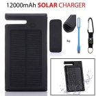 "SUNGZU ""12000mAh"" Solar Power Bank w/ Compass, USB Light - Black"