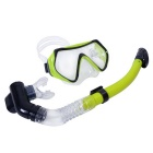 Scuba Diving Full Dry Snorkel Breathing Tube - Black + Yellow Green
