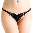 Sexy Lace Heart-Shaped Pattern Pearls Thong - Black (Free Size)