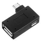 Micro USB to USB OTG Left Angled Adapter w/ Power Supply - Black