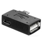 Micro USB Female to USB 2.0 OTG Connector w/ Power Supply - Black