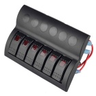 IZTOSS 6-Group 12V/24V Waterproof Rocker Switch Panel w/ Red LED
