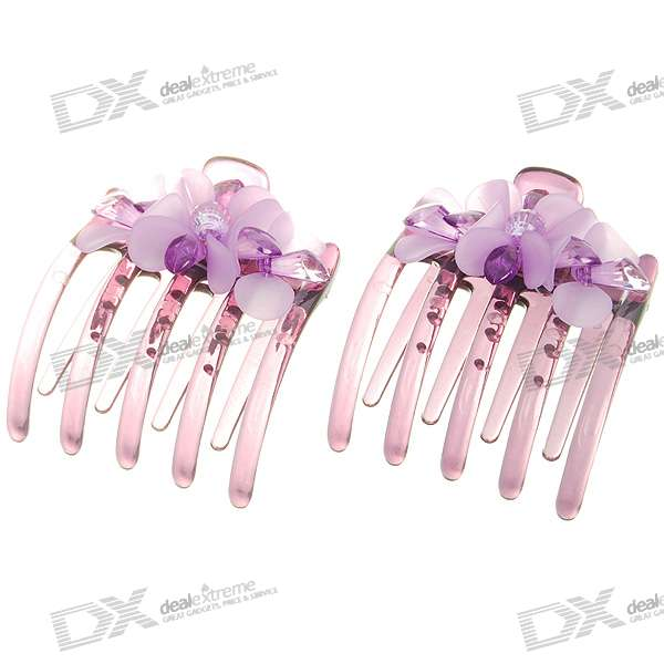 Lotus Acrylic Hairpin w/ Beads (Purple)