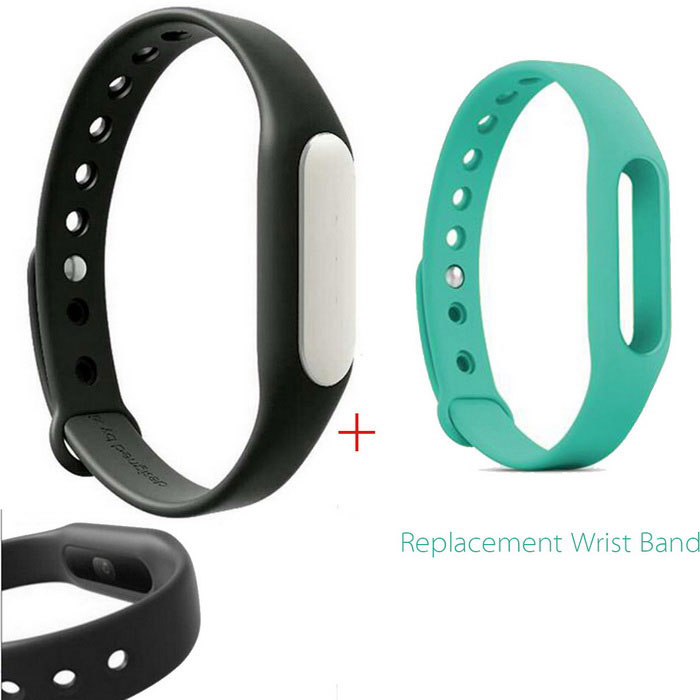 Xiaomi Mi Band 1S Smart Bracelet + Replacement Wristband - Black+Cyan