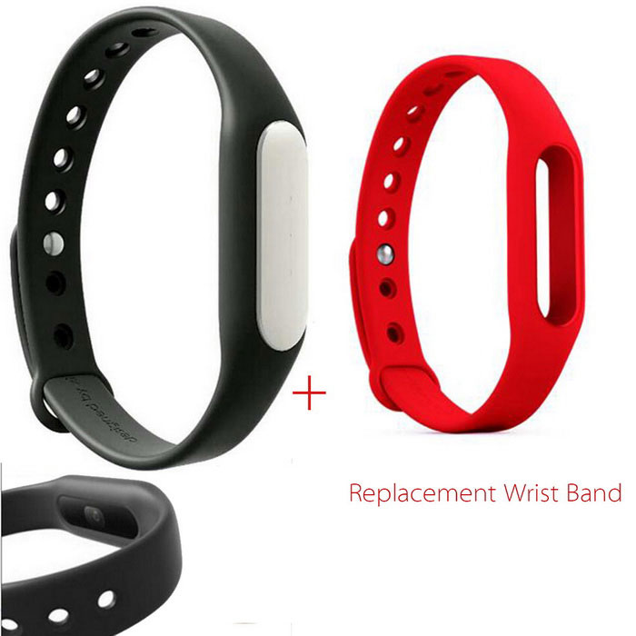 Xiaomi Mi Band 1S Smart Bracelet + Replacement Wristband - Black + Red