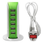 30W 6-USB 6A Purjevene Malli USB Power Adapter - Green (UK-liitin)