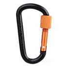 Multifunctional Aluminium Alloy Carabiner with Lock - Black + Orange
