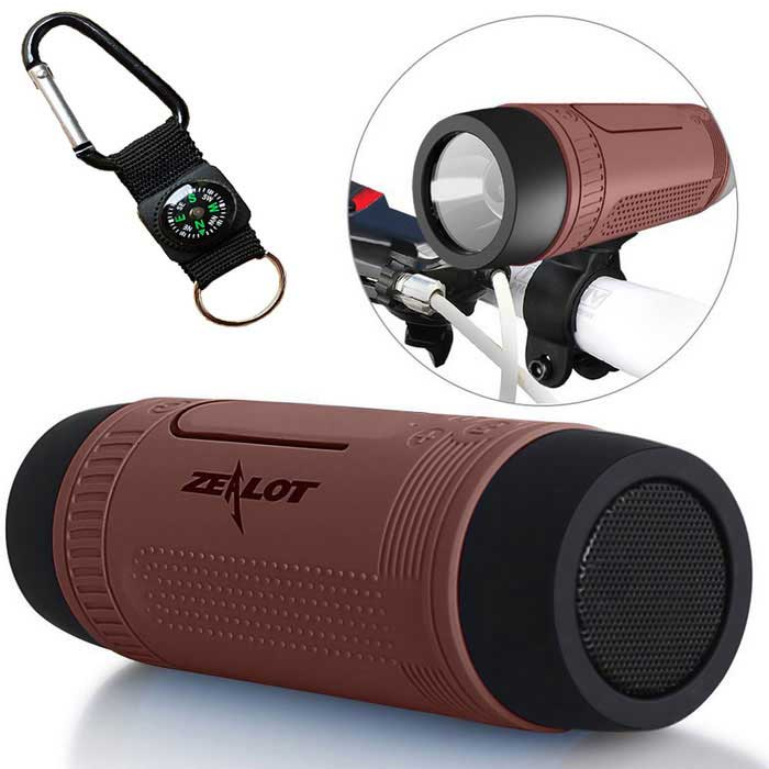 ZEALOT S1 Outdoor Waterproof Bluetooth 4.0 Speaker - Coffee + Black