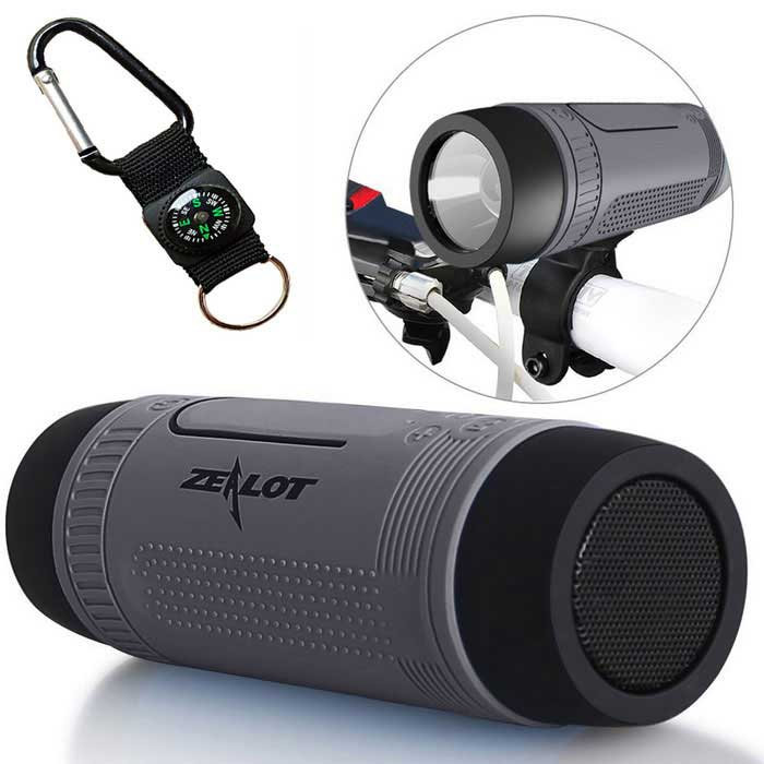 ZEALOT S1 Outdoor Waterproof Bluetooth 4.0 Speaker - Grey + Black