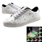 USB Charging 7 Colors of LED Light Sneakers Shoes - White (Size 42)