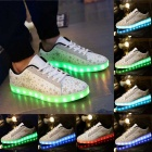 USB Charging 7 Colors of LED Light Sneakers Shoes - White (Size 44)