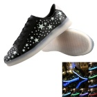 USB Charging 7 Colors of LED Light Sneakers Shoes - Black (Size 44)