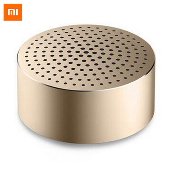 Original Xiaomi Mi Bluetooth V4.0 Portable Speaker - Champagne GoldBluetooth Speakers<br>Form  ColorChampagne GoldModelXMYX02YMMaterialAluminumQuantity1 pieceShade Of ColorGoldBluetooth HandsfreeYesBluetooth VersionBluetooth V4.0Operating Range5mTotal Power2 WInterfaceOthers,Micro USBMicrophoneYesSNRCVC6.0Impedance4 ohmApplicable ProductsUniversal,Cellphone,PDA,Tablet PCRadio TunerNoBattery TypeLi-ion batteryTalk Time4 hoursStandby Time4 hoursMusic Play Time4 hours hourPower AdapterUSBPacking List1 * Speaker1 * Chinese Manual<br>