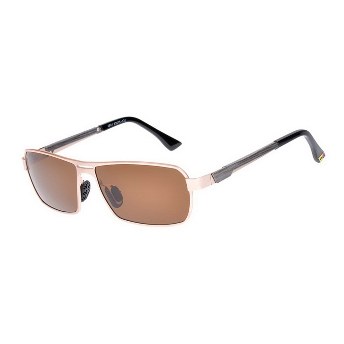 SENLAN 2801P3 Men's Polarized Sunglasses - Gold + Dark Brown