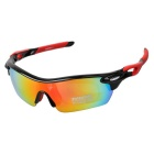 XQ182 Men's TR90 Frame Polarized Sunglasses - Black + Red REVO