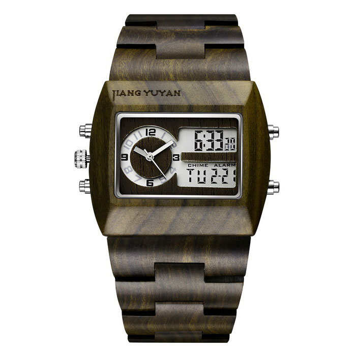 JIANGYUYAN 391803 Men's Dual Movement Ebony Dial Wristwatch
