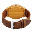 JIANGYUYAN 377101 Bamboo Dial Quartz Analog Wristwatch for Men - Brown