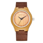 Fashionable Ultra Slim Couple's Natural Bamboo Dial + Leather Band Wristwatch (1*S377)