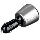Multifunctional Dual USB 5A Smart Car Charger - Black + Silvery Grey