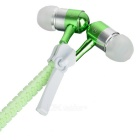 3.5mm Fluorescent Metal Zipper Style Earphones with Mic - Green +White