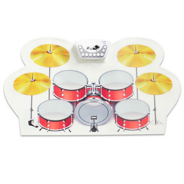 Portable Electronic Drums - White + RedMusical Instruments<br>Form ColorWhite + Red + Multi-ColoredMaterialSiliconeQuantity1 DX.PCM.Model.AttributeModel.UnitShade Of ColorWhiteInstrument TypeOthers,Electronic drumOther FeaturesUSB 5V or 2*AAA(1.5V) (AAA battery is not included)Packing List1*USB drum2*Drum legs1*USB cable(1m)1*CD1*Drum pedal(1.5m)1*User manual(English)<br>