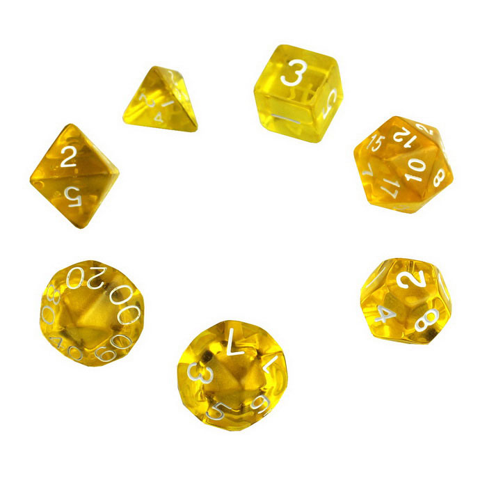 Exquisite Polyhedral Acrylic Dice - Yellow + White (7 PCS)