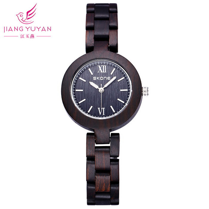 SKONE Women's High-end Circular Dial Quartz Watch - Ebony Color