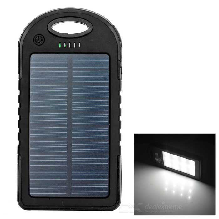 K35C Solar Power Bank w / 2.4W LED Light + Counterfeit Detector - Black