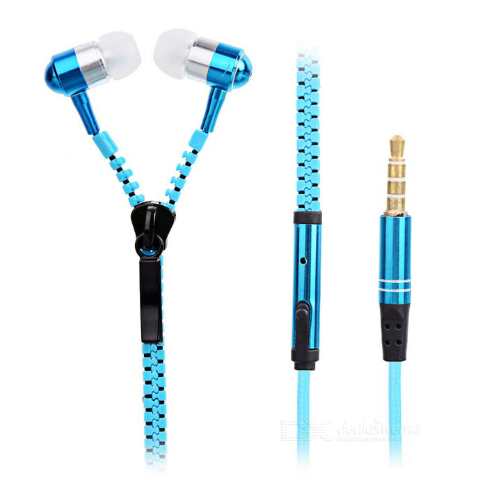 Metal Zipper Style 3.5mm Stereo Music Earphones with Mic - Blue+Black