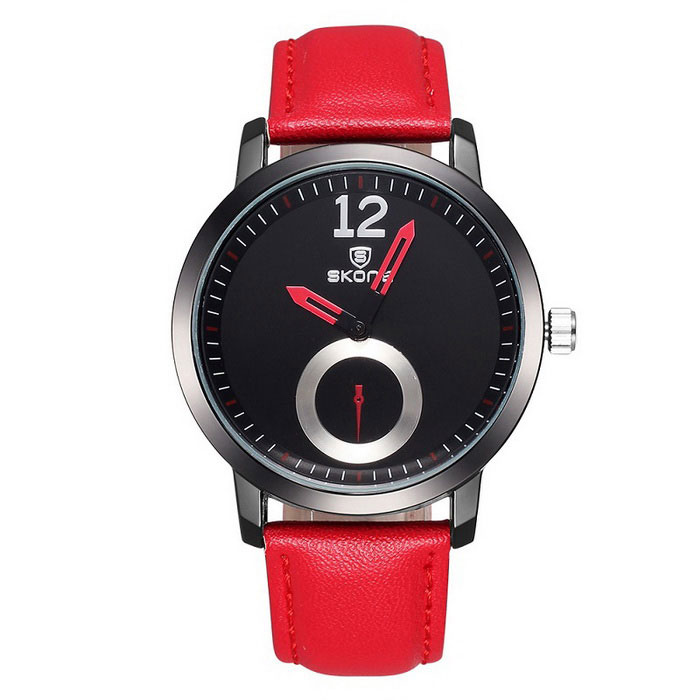 SKONE Unisex PU Banda analógico Quartz Watch - Red + Black (1 * S377)