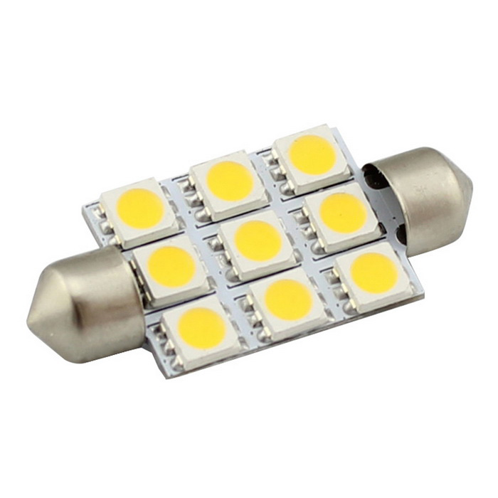 HONSCO Festoon 39mm 2W LED Warm White Car Dome Light (DC 12V)Festoon<br>Color BINWarm WhiteModel-Quantity1 DX.PCM.Model.AttributeModel.UnitMaterialMetal + PCBForm ColorWhiteEmitter Type5050 SMD LEDChip BrandEpistarChip Type5050Total Emitters9Power2WColor Temperature3000 DX.PCM.Model.AttributeModel.UnitTheoretical Lumens180 DX.PCM.Model.AttributeModel.UnitActual Lumens150 DX.PCM.Model.AttributeModel.UnitRate VoltageDC 12VWaterproof FunctionNoConnector TypeFestoon 39mmApplicationLicense plate light,Clearance lamp,Reading lampCertificationCE, RoHSPacking List1 * LED Bulb<br>