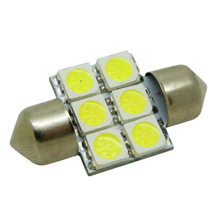 HONSCO Festoon 31mm 1W Cold White LED Light Dome Lamp (DC 12V)Festoon<br>Color BINCold WhiteModel-Quantity1 DX.PCM.Model.AttributeModel.UnitMaterialMetal + PCBForm ColorWhiteEmitter Type5050 SMD LEDChip BrandEpistarChip Type5050Total Emitters6Power1WColor Temperature6500 DX.PCM.Model.AttributeModel.UnitTheoretical Lumens100 DX.PCM.Model.AttributeModel.UnitActual Lumens80 DX.PCM.Model.AttributeModel.UnitRate VoltageDC 12VWaterproof FunctionNoConnector TypeFestoon 31mmApplicationLicense plate light,Clearance lamp,Reading lampCertificationCE, RoHSPacking List1 * 31mm Light<br>