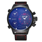 SKONE 379002 Men's 3-Dial PU Leather Band Quartz Watch - Red Letters