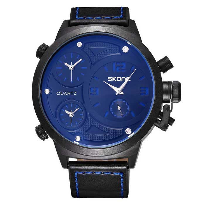 SKONE 379003 Mens 3-Dial PU Leather Band Quartz Watch - Blue LettersQuartz Watches<br>Form  ColorLight Blue + Blue + MulticolorModel379003Quantity1 DX.PCM.Model.AttributeModel.UnitShade Of ColorBlackCasing MaterialAlloyWristband MaterialPU leatherSuitable forAdultsGenderMenStyleWrist WatchTypeSports watchesDisplayAnalogMovementQuartzDisplay Format12 hour formatWater ResistantFor daily wear. Suitable for everyday use. Wearable while water is being splashed but not under any pressure.Dial Diameter5.17 DX.PCM.Model.AttributeModel.UnitDial Thickness1.39 DX.PCM.Model.AttributeModel.UnitWristband Length25.5 DX.PCM.Model.AttributeModel.UnitBand Width2.37 DX.PCM.Model.AttributeModel.UnitBattery1*S377Packing List1 * Watch<br>