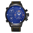 SKONE 379004 Men's 3-Dial PU Leather Band Quartz Watch -Yellow Letters