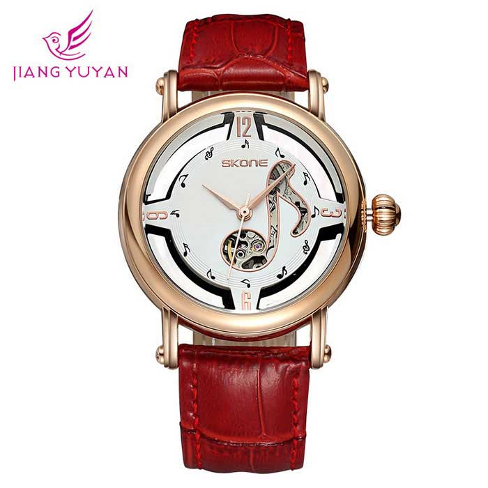 SKONE 261802 Women's Hollow out Dial Mechanical Watch - Red + Gold