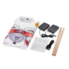 Portable Silicone Electronic Drum - White + Red